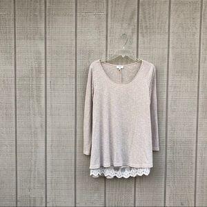 Umgee bohemian wheat cream lace tunic top, S